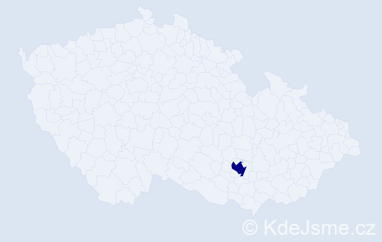 """Příjmení: '""""Delfino Cenková""""', počet výskytů 1 v celé ČR"""
