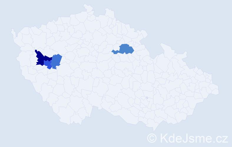 Příjmení: 'Katera', počet výskytů 8 v celé ČR