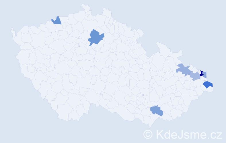 Příjmení: 'Graciková', počet výskytů 13 v celé ČR