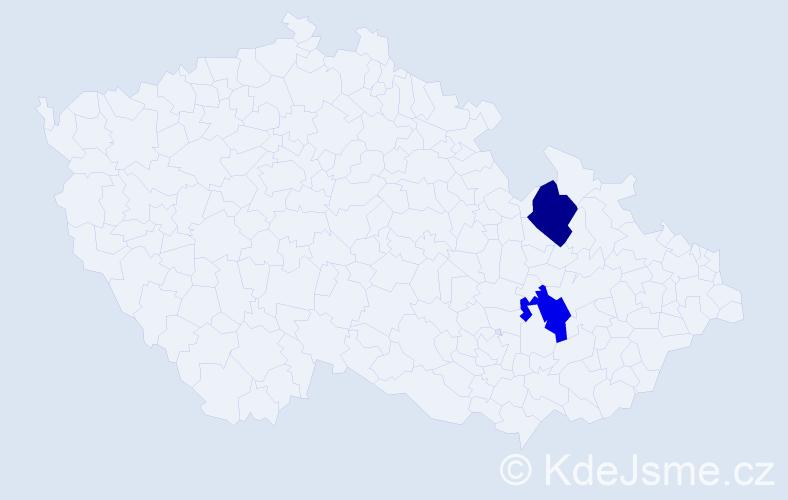 Příjmení: 'Cäsarová', počet výskytů 2 v celé ČR