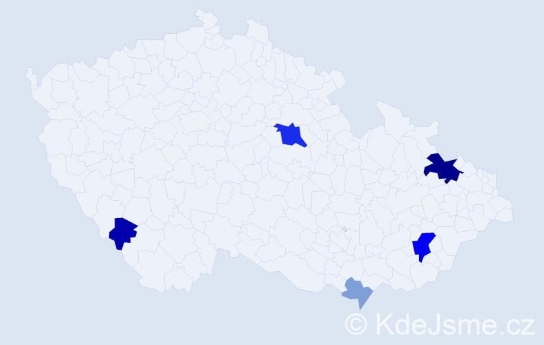Příjmení: 'Barvič', počet výskytů 15 v celé ČR