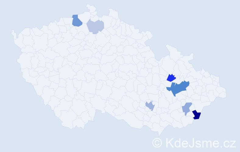 Příjmení: 'Čundrle', počet výskytů 24 v celé ČR