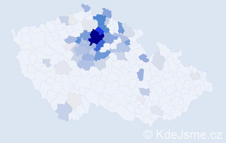 Příjmení: 'Honc', počet výskytů 274 v celé ČR