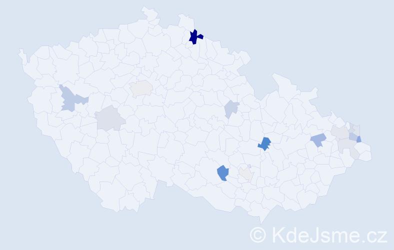 Příjmení: 'Gombalová', počet výskytů 31 v celé ČR