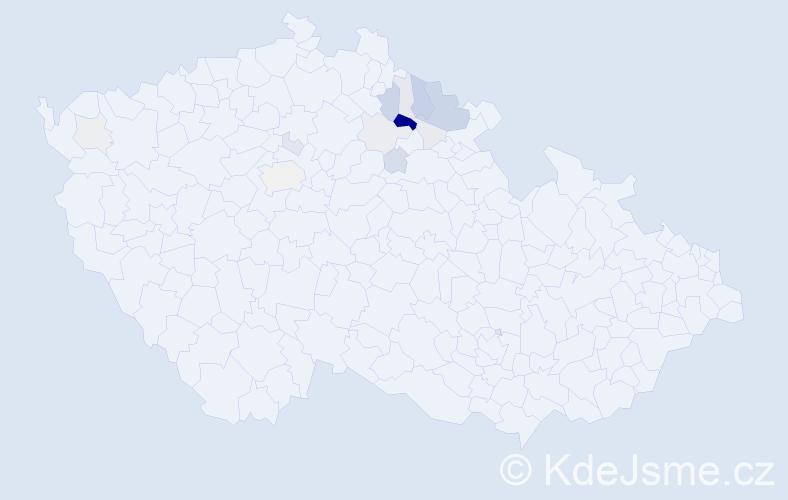 Příjmení: 'Bark', počet výskytů 55 v celé ČR
