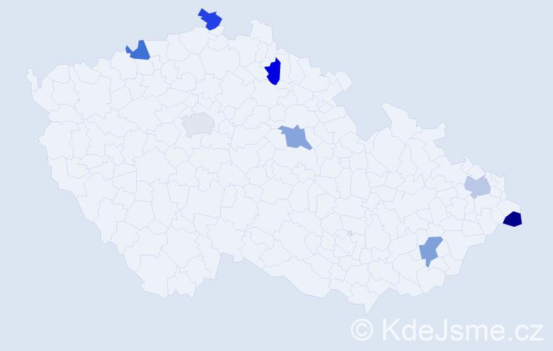 Příjmení: 'Kieu', počet výskytů 8 v celé ČR
