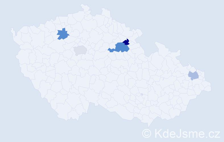 Příjmení: 'Císarová', počet výskytů 15 v celé ČR