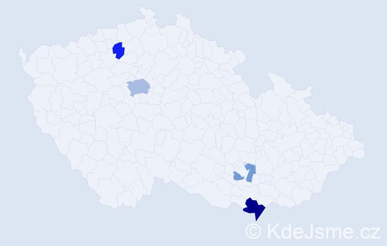 Příjmení: 'Brandalíková', počet výskytů 10 v celé ČR