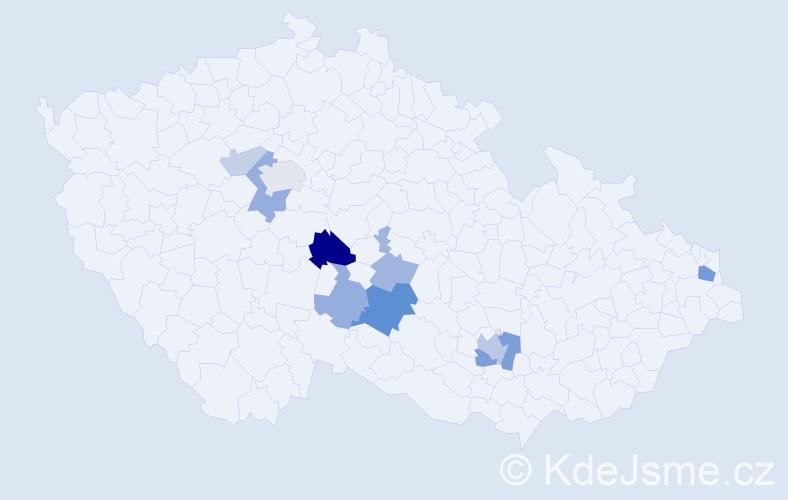 Příjmení: 'Crhánová', počet výskytů 22 v celé ČR