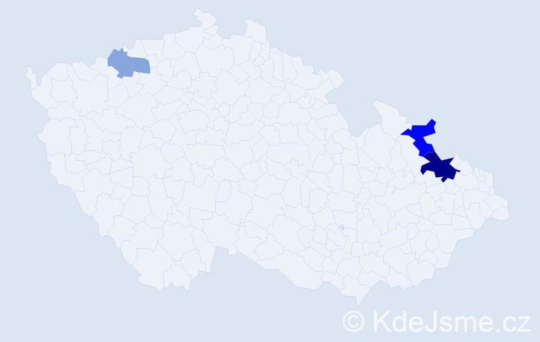 Příjmení: 'Jatzková', počet výskytů 9 v celé ČR