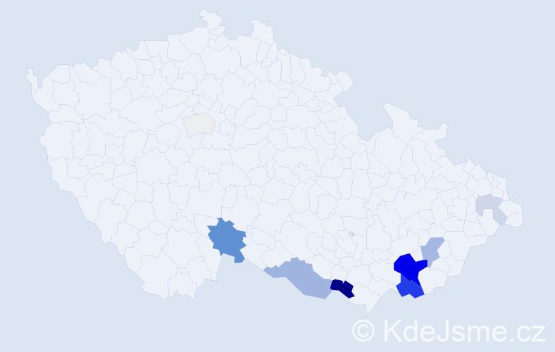 Příjmení: 'Čevelík', počet výskytů 26 v celé ČR