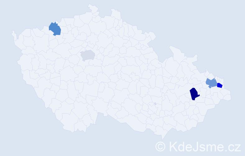 Příjmení: 'Ernesová', počet výskytů 7 v celé ČR