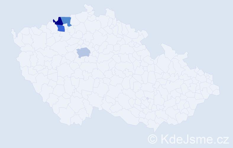 Příjmení: 'Bidrmann', počet výskytů 5 v celé ČR