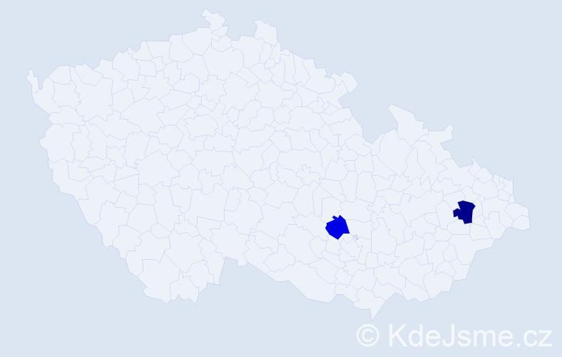 Příjmení: 'Esterkesová', počet výskytů 3 v celé ČR