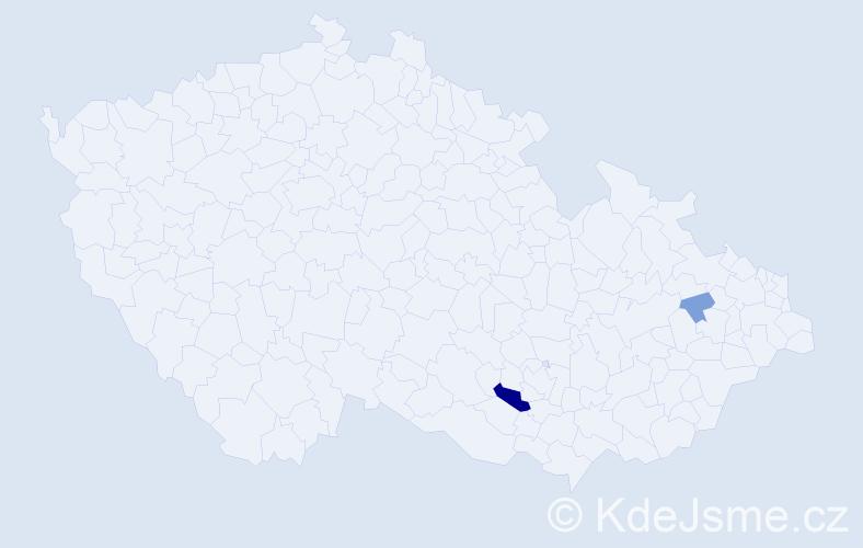 Příjmení: 'Knížátková', počet výskytů 6 v celé ČR