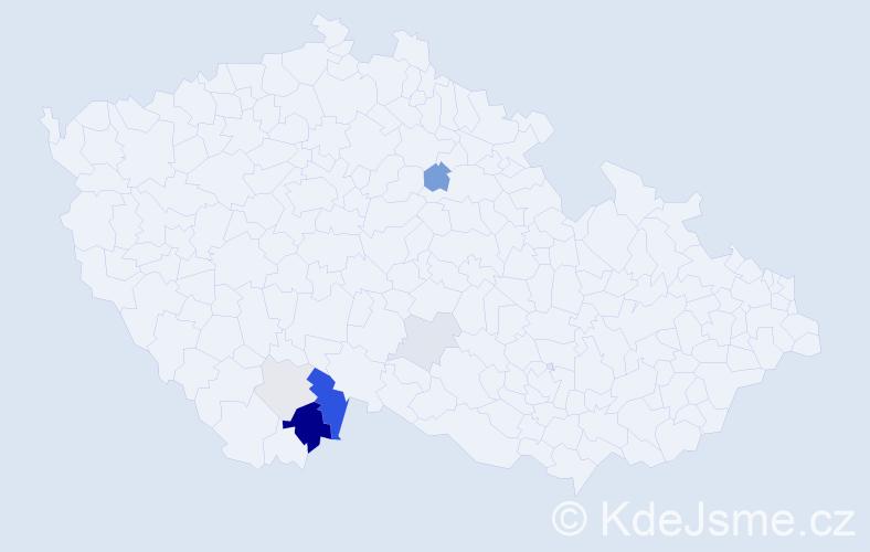 Příjmení: 'Fráně', počet výskytů 17 v celé ČR