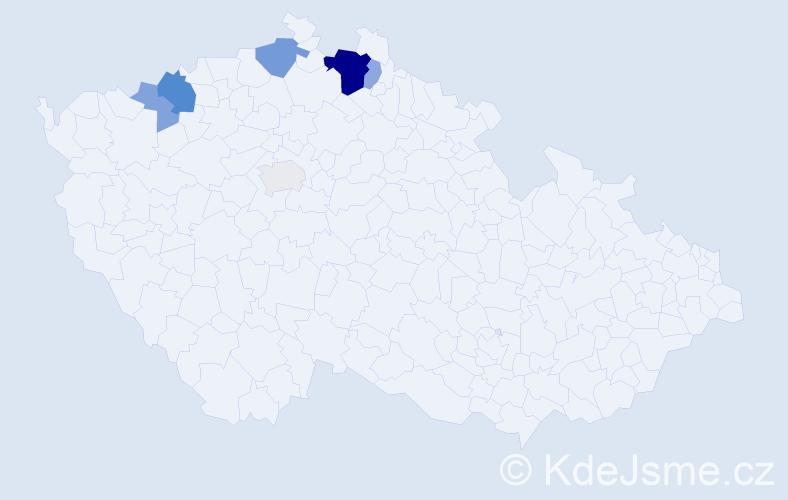 Příjmení: 'Kancová', počet výskytů 17 v celé ČR