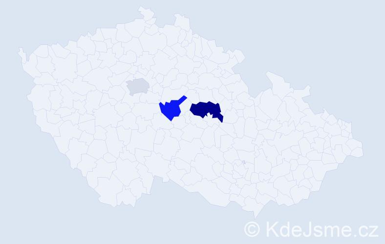 Příjmení: 'Esnerová', počet výskytů 4 v celé ČR
