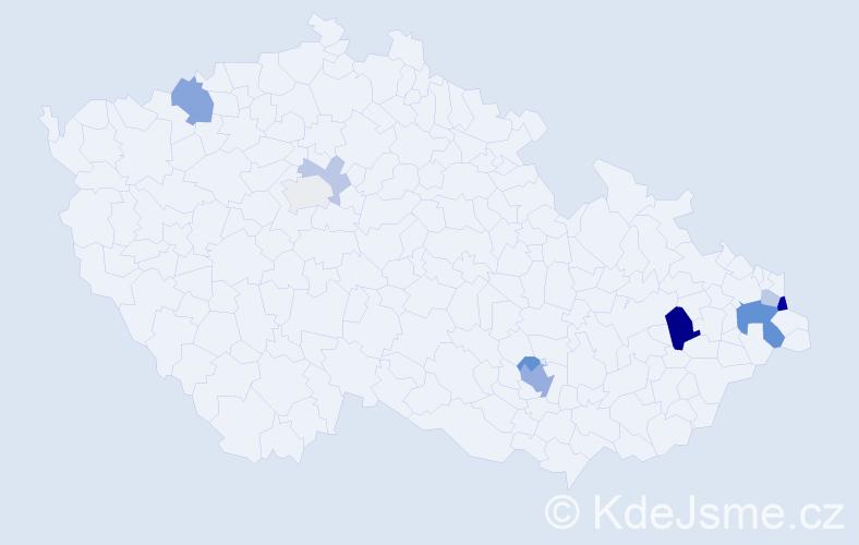 Příjmení: 'Deutscherová', počet výskytů 22 v celé ČR