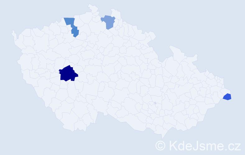 Příjmení: 'Čilo', počet výskytů 12 v celé ČR