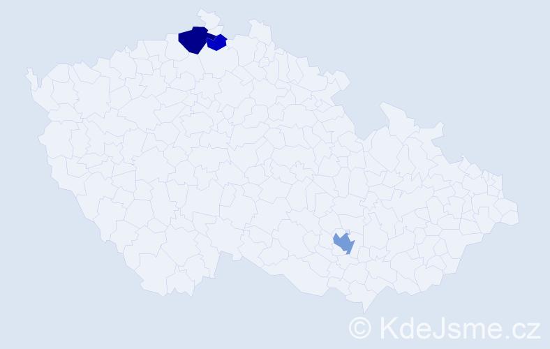 Příjmení: 'Kleschtová', počet výskytů 7 v celé ČR