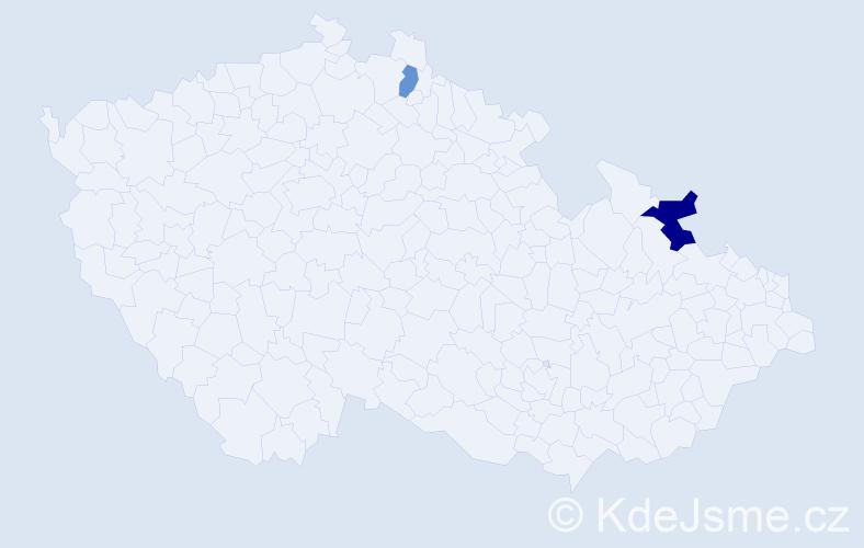 Příjmení: 'Gergeľ', počet výskytů 3 v celé ČR