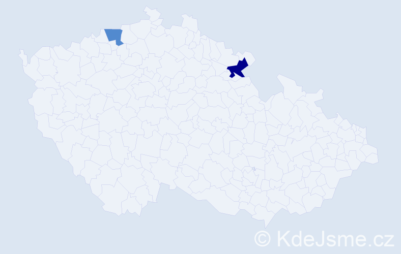 Příjmení: 'Četveriková', počet výskytů 5 v celé ČR