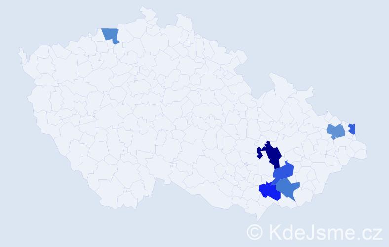 Příjmení: 'Indrůchová', počet výskytů 9 v celé ČR