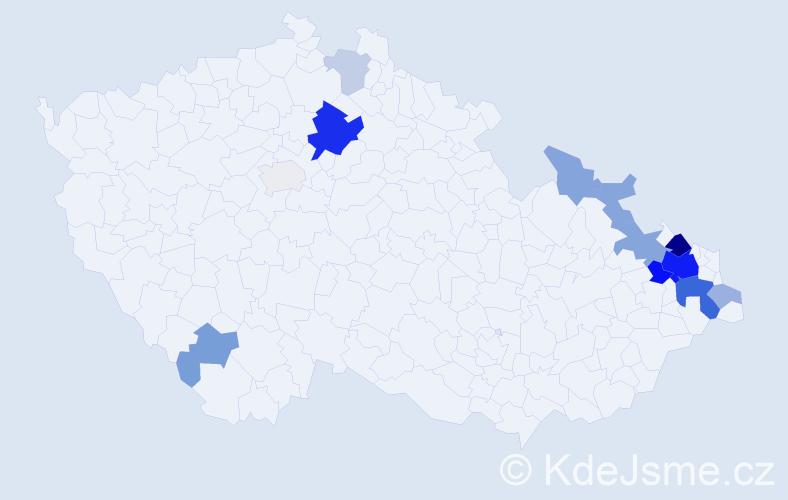 Příjmení: 'Hadaščok', počet výskytů 40 v celé ČR