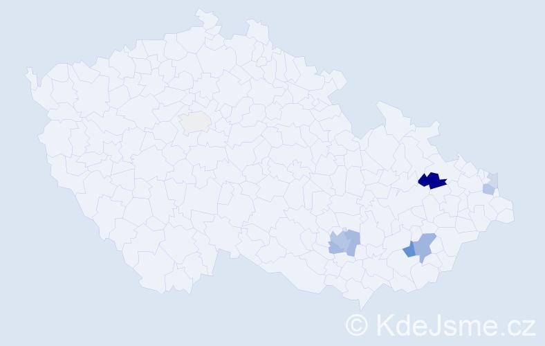 Příjmení: 'Kovál', počet výskytů 21 v celé ČR