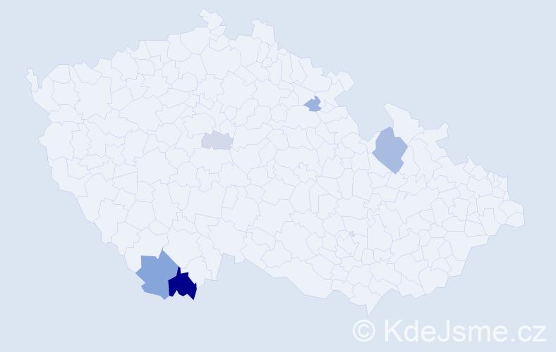 Příjmení: 'Grbačová', počet výskytů 14 v celé ČR