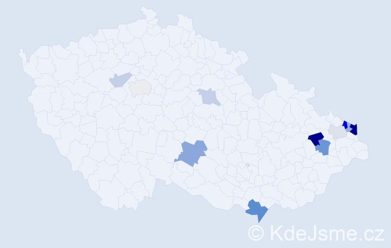 Příjmení: 'Kucza', počet výskytů 25 v celé ČR