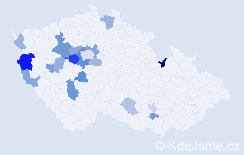 Příjmení: 'Čiková', počet výskytů 39 v celé ČR