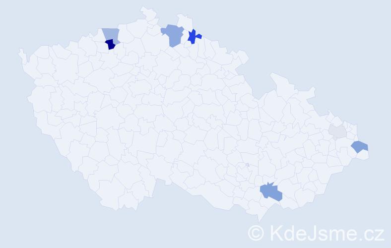 Příjmení: 'Kadašová', počet výskytů 15 v celé ČR