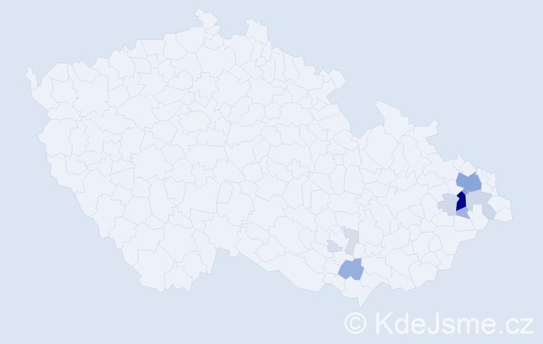 Příjmení: 'Klozík', počet výskytů 34 v celé ČR