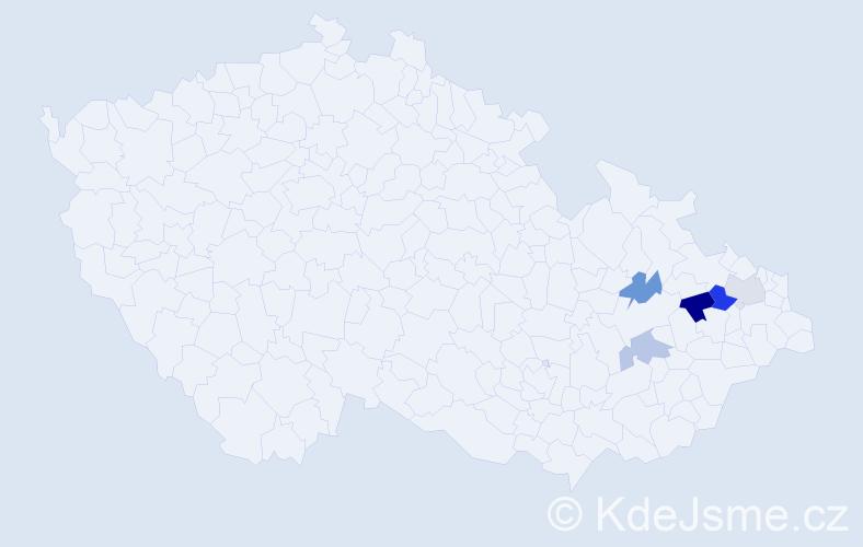 Příjmení: 'Čepka', počet výskytů 7 v celé ČR