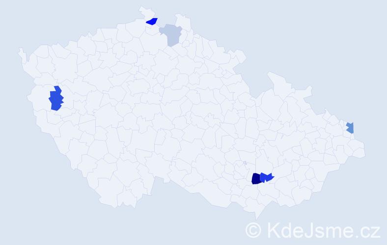 Příjmení: 'Galata', počet výskytů 18 v celé ČR