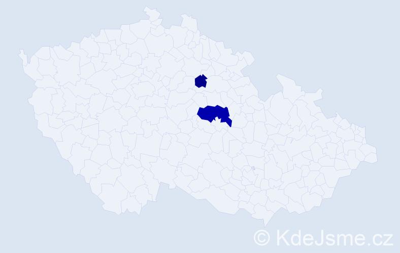 Příjmení: 'Bešeová', počet výskytů 5 v celé ČR
