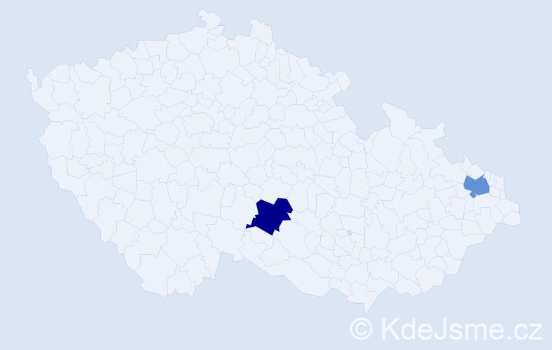 Příjmení: 'Lena', počet výskytů 2 v celé ČR
