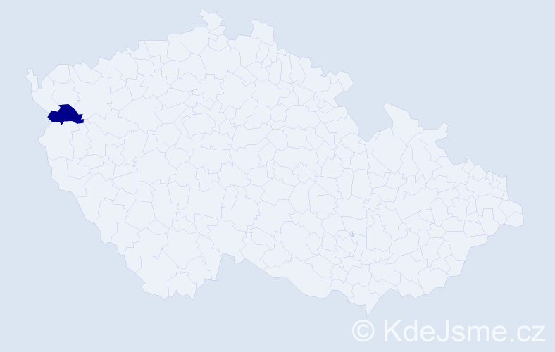 """Příjmení: '""""Gjetaj Wastlová""""', počet výskytů 1 v celé ČR"""
