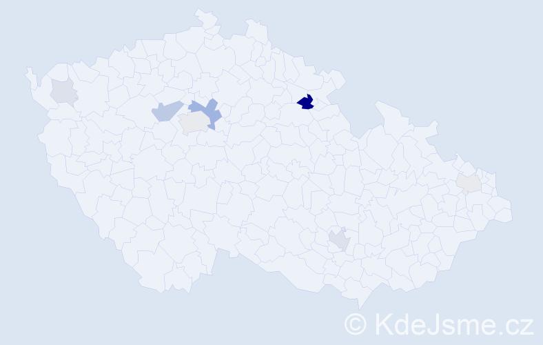 Příjmení: 'Bánová', počet výskytů 22 v celé ČR
