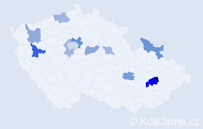Příjmení: 'Kvaš', počet výskytů 21 v celé ČR