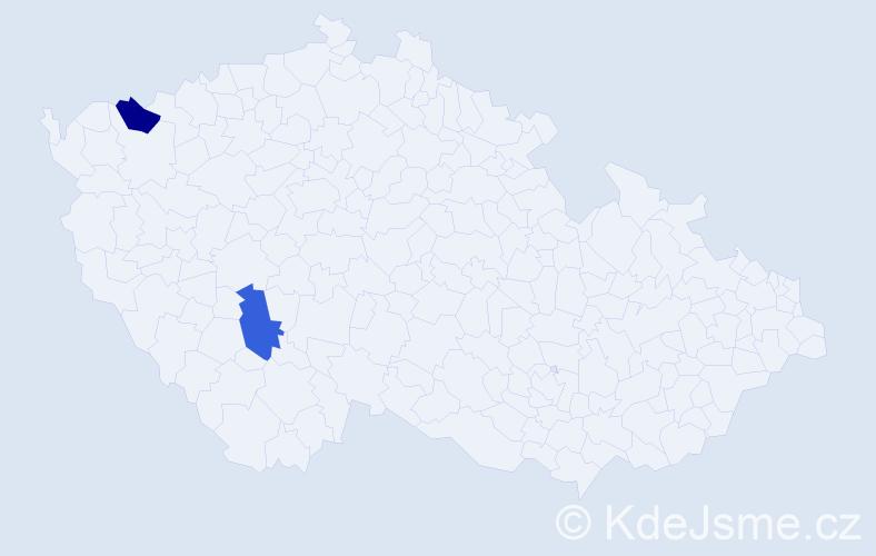 Příjmení: 'Klucke', počet výskytů 2 v celé ČR