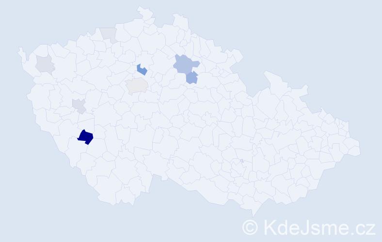 Příjmení: 'Capratová', počet výskytů 18 v celé ČR