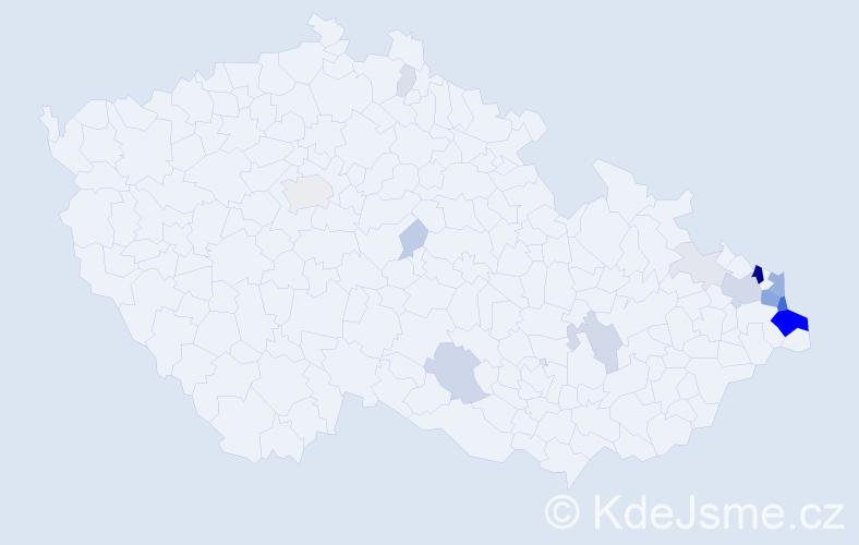 Příjmení: 'Ferfecki', počet výskytů 64 v celé ČR