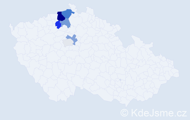 Příjmení: 'Gubaničová', počet výskytů 11 v celé ČR