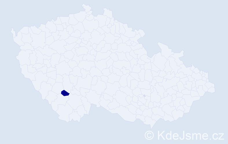 """Příjmení: '""""Adámková Korbuthová""""', počet výskytů 1 v celé ČR"""