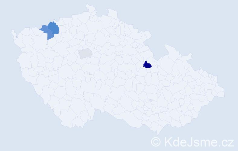 Příjmení: 'Cyrányová', počet výskytů 12 v celé ČR