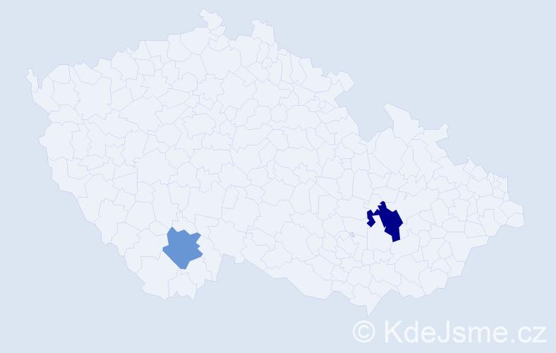 Příjmení: 'Hrdiborská', počet výskytů 3 v celé ČR