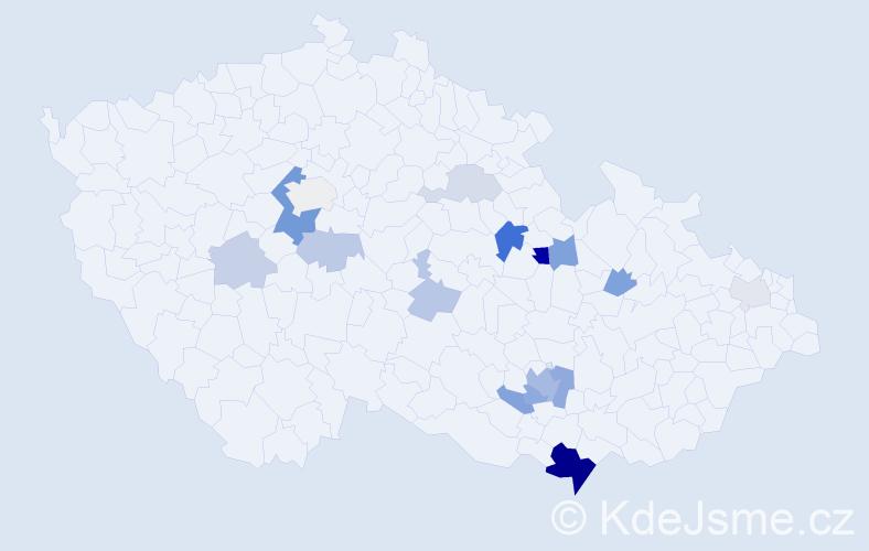 Příjmení: 'Kepert', počet výskytů 38 v celé ČR